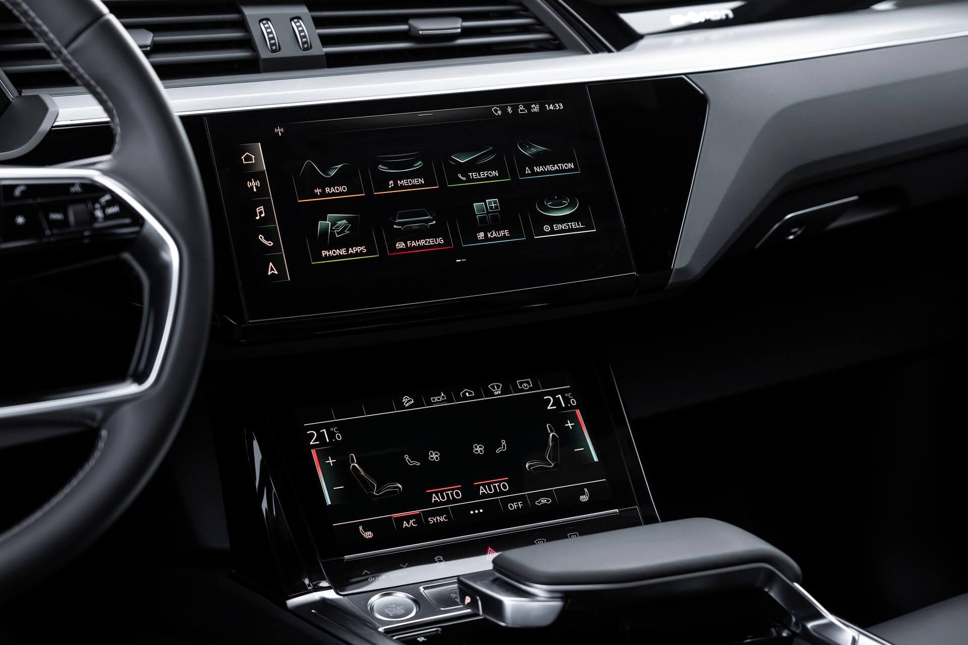 Audi e-tron Sportback - Λειτουργικό σύστημα απόκρισης αφής MMI με δύο οθόνες