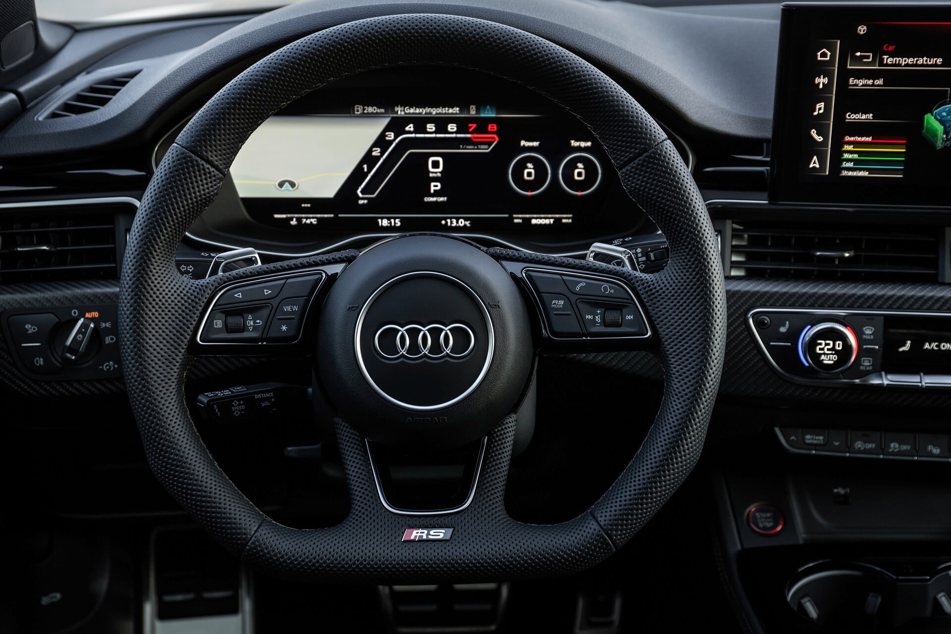"""Νέο Audi RS 5 - Οθόνη αφής MMI 10,1 ιντσών, σύστημα ψυχαγωγίας MMI navigation plus, προβολή """"RS monitor"""""""