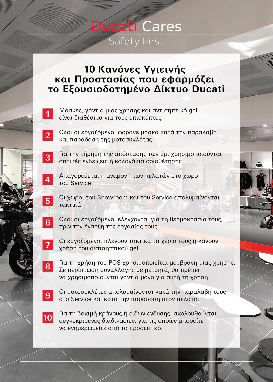 Ducati Cares - 10 κανόνες Υγιεινής και Προστασίας που εφαρμόζει το Εξουσιοδοτημένο Δίκτυο Ducati