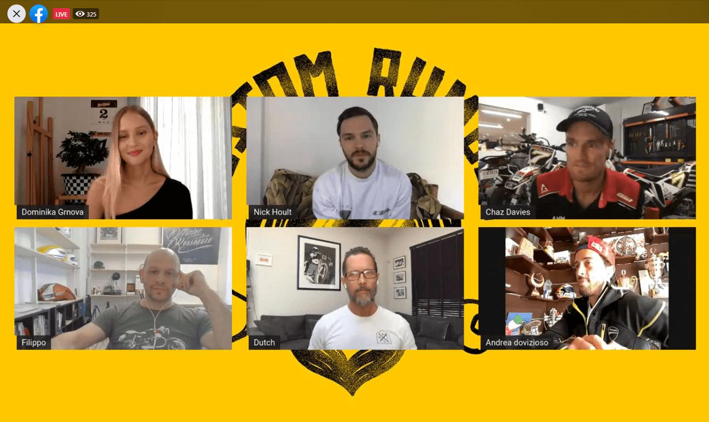 FB Live Ducati Custom Rumble - Η παρουσιάστρια Dominika Grnova και οι κριτές Nicholas Hoult, Andrea Dovizioso, Chaz Davies, Dutch Van Someren και Filippo Barbacane