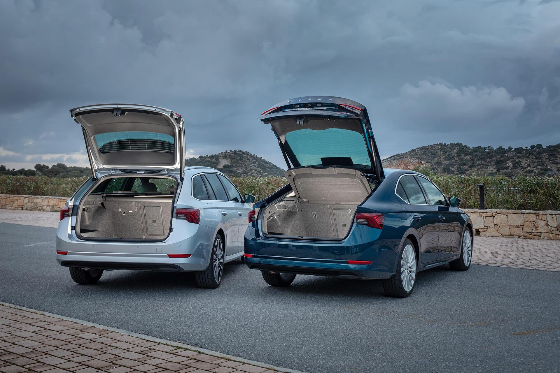 SKODA OCTAVIA Sportswagon και Grand Coupe σε χρώματα Lava Blue και Titan Blue - Χωρητικότητα πορτμπαγκάζ